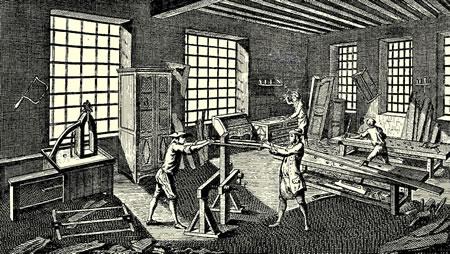 Atelier d'ébénisterie au XVIIIe siècle (Encyclopédie de Diderot et d'Alambert)