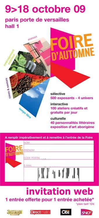 Invitation Foire d'Automne de Paris Porte de Versailles